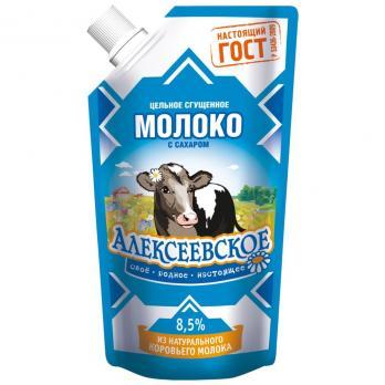 Молоко сгущенное АЛЕКСЕЕВСКОЕ цельное с сахаром 8,5% без змж дойпак 100г