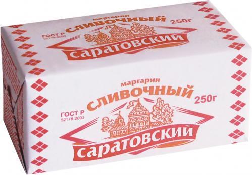 Маргарин САРАТОВСКИЙ со сливочным вкусом и ароматом 60% перг 250г