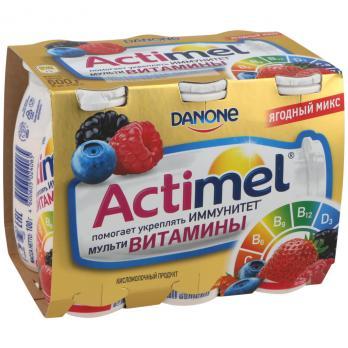 Продукт кисломолочный DANONE Актимель L Casei imunitass витам/кал/цинк Ягодн микс без змж 100г