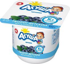Творог АГУША детский фруктовый черника с 6 мес 3,9% без змж 100г