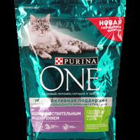 Корм для взрослых кошек PURINA ONE Sensitive с индей/рисом с чувств.пищевар.разб.вкус.сух.порц.