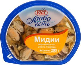 Мидии VICI Любо есть маринованные в масле 200г