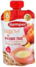 Д/п пюре SEMPER Яблочно-персиковое с кашей 6 мес м/у 120г