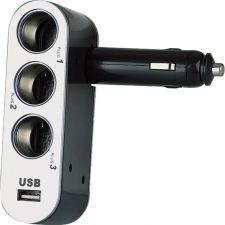 Разветвитель прикуривателя 3 розетки + USB порт