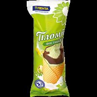 Мороженое ЛЕНТА пломбир фисташковый в вафельном рожке с фисташками и кешью