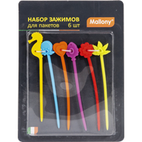 Набор зажимов MALLONY д/пакетов 6шт SCS-1 12,5см 001801