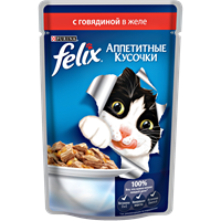 Корм для взрослых кошек FELIX С говядиной полнорац.консер.