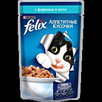 Корм для кошек FELIX Аппетитные кусочки с форелью в желе консер.