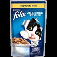 Корм для котят FELIX Аппетитные Кусочки с курицей в желе
