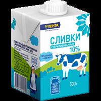 Сливки ЛЕНТА стерил. питьевые 10%
