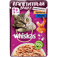Корм для кошек WHISKAS слив.соус лос/крев