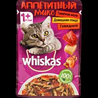 Корм для кошек WHISKAS томат желе гов/птиц