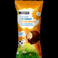 Мороженое ЛЕНТА Сахарная трубочка пломбир крем-брюле