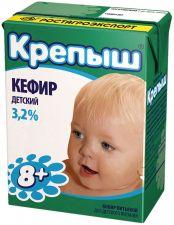 Кефир КРЕПЫШ д/детского питания 3,2% без змж 204г