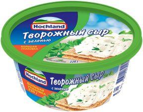 Сыр HOCHLAND творожный с зеленью 60% без змж 220г