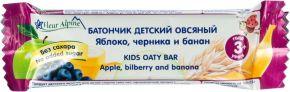Батончик FLEUR ALPINE Овсяный Organic с яблоком, черникой и бананом 23г