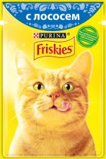 Корм д/взр.кошек FRISKIES с лососем в подливе консервированный полнорационный 85г
