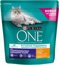 Корм д/кошек PURINA ONE Курица и цельные злаки д/стерил-х/кастр-х сух. 1,5кг