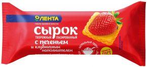 Сырок твор. глазированный ЛЕНТА с клубничным наполнителем и печеньем 26% без змж 43г