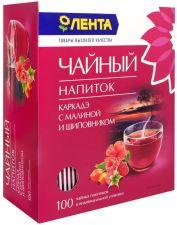 Напиток чайный ЛЕНТА Каркадэ с малиной и шиповником к/уп 100пак