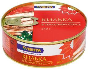 Р/к килька ЛЕНТА в томатном соусе ключ 240г