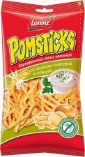 Чипсы POMSTICKS Lorenz картофельные соломкой со вкусом сметаны и специй 100г