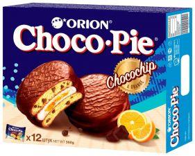 Бисквит ORION Choco Pie Chocochip с кусочками шоколада в глазури 360г