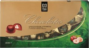 Конфеты DOLCE ALBERO Шоколадные из горького шоколада с цельным лесным орехом 200г