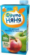 Д/п сок ФРУТОНЯНЯ яблочно-персиковый с мякотью б/сахара 500мл
