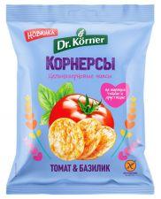 Чипсы цельнозерновые DR KORNER Кукурузно-рисовые с томатом и базиликом 50г