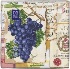 Салфетки DOLCE ALBERO бумажные Виноград 3 сл. 33х33см 20шт