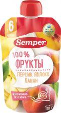Д/п пюре SEMPER Персик Яблоко Банан 110г