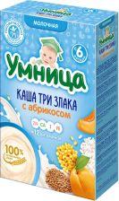 Д/п каша УМНИЦА молочная 3 злака с абрикосом с 6 мес 200г