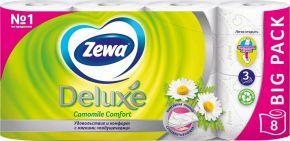 Бумага туалетная ZEWA Deluxe аром. Ромашки 3-сл. 8шт