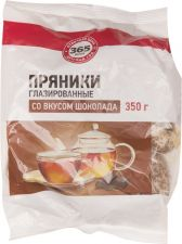 Пряники 365 ДНЕЙ со вкусом шоколада глазированные б/начинки 350г