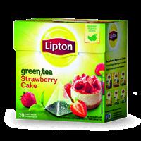 Чай зеленый LIPTON Байховый Strawberry Cake Клубнич пирож. кусоч.Клуб. к/уп