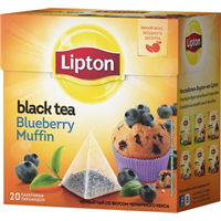 Чай черный LIPTON Blueberry Muffin с аром. черн. кекса и кусоч. черники к/уп