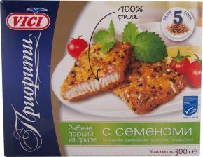 Порции рыбные VICI Приорити из филе в панировке с семенами 300г
