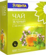 Чай зеленый ЛЕНТА с мелиссой к/уп 100пак