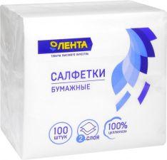 Бумажные салфетки ЛЕНТА Белые 24*24см 2-х сл. 100шт