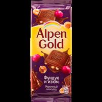 Шоколад ALPEN GOLD с фундуком и изюмом