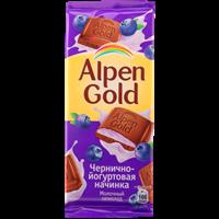 Шоколад ALPEN GOLD молочный с начинкой Черника с йогуртом