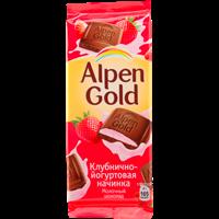 Шоколад ALPEN GOLD молочный с начинкой Клубника с йогуртом