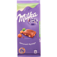 Шоколад MILKA молочный с цельным фундуком