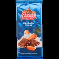 Шоколад РОССИЯ ЩЕДРАЯ ДУША молочный миндаль вафля