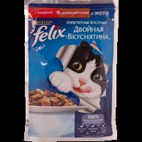 Корм для кошек FELIX Двойная вкуснятина с говядиной и домашней птицей  в желе