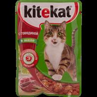 Корм для кошек KITEKAT Говядина в желе