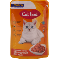 Корм для кошек ЛЕНТА консервированный с говядиной и курицей
