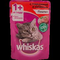 Корм для кошек WHISKAS Вкусный обед Мясной паштет говядина/печень полнорац.консер.