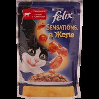 Корм для взрослых кошек FELIX Sensations с говядиной в желе с томатами консер.